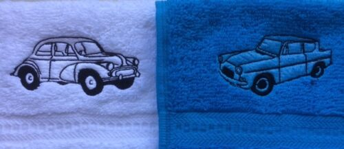 Embroidered Ford Anglia or Morris Minor design face flannel//cloth,£3.99 Free P/&P