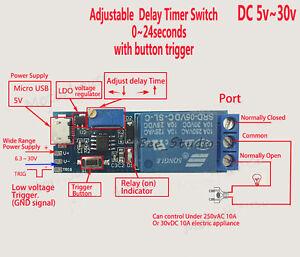 dc 5v 12v 24v adjustable trigger delay time switch timer board relay module car ebay