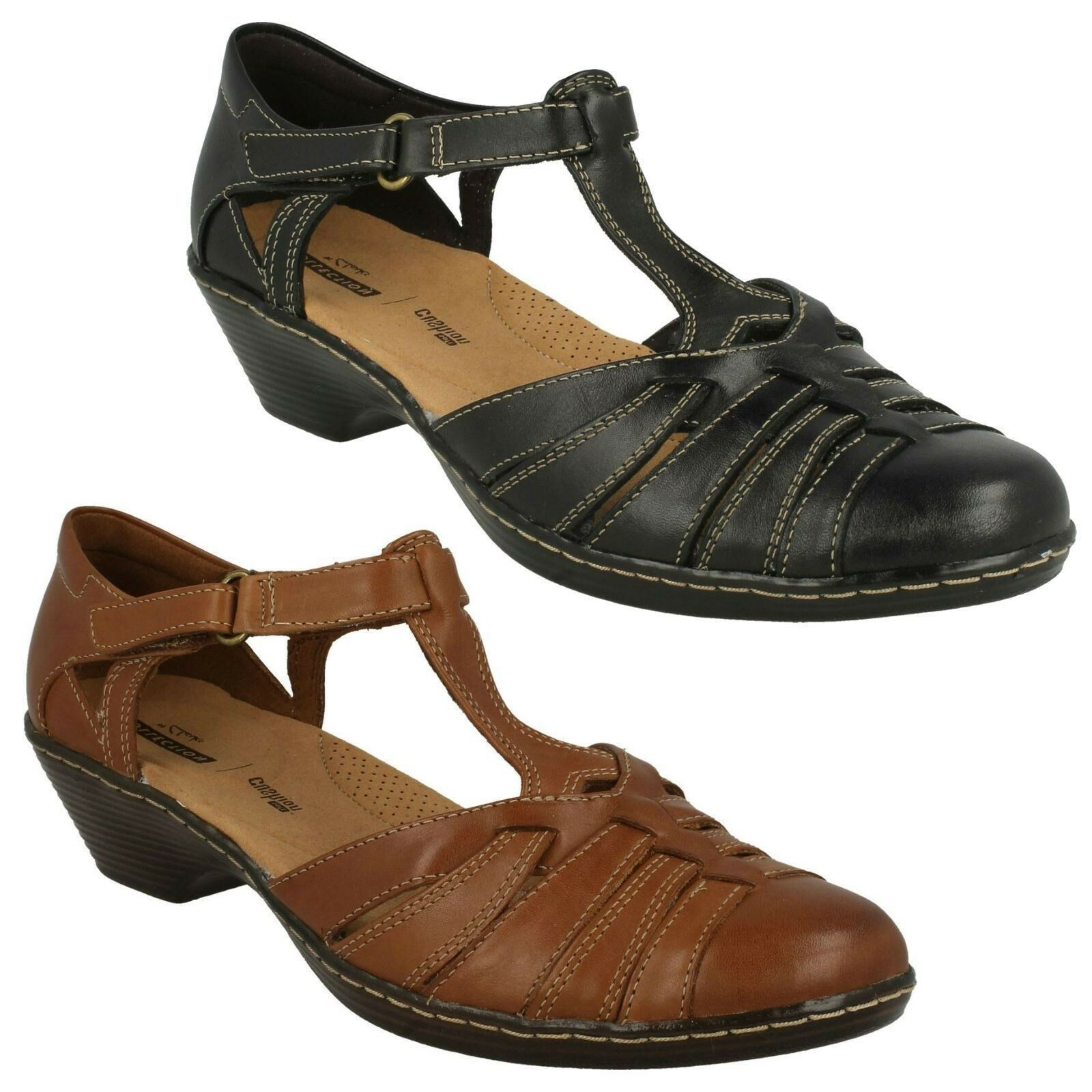 LADIES CLARKS LEATHER SCOOP WEDGE T-BAR CASUAL SANDALS Schuhe SIZE WENDY ALTO