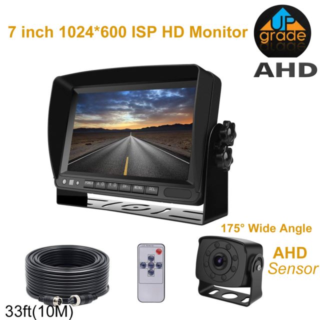 1080P 7/'/' Monitor 175º Wide View HD Backup Rear View Camera For Truck RV Bus