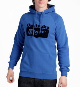 Asics-Onitsuka-Tiger-Core-Logo-Mens-Hoody-Blue-Casual-Stylish-Sports-Hoodie-S-L