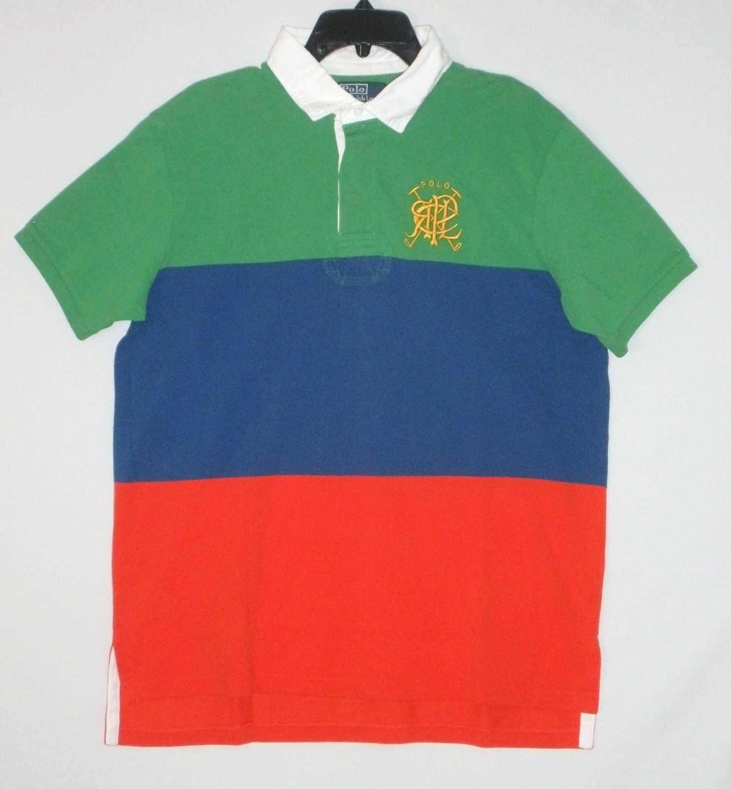 NWT  POLO by RALPH LAUREN Mens Rugby S S Shirt, blueE GREEN orange,  M  L  XL