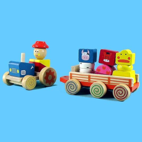 Bunter Holz Traktor mit Anhänger und Tiere Bauernhof Holzspielzeug