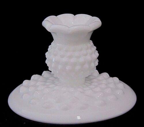 "SHORT FLAT FOOT ~PAIR SET OF 2 FENTON HOBNAIL WHITE MILK GLASS CANDLE HOLDER 3/"""