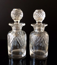 A Beautiful Pair of Small Edwardian Cut Glass Scent or Perfume Bottles