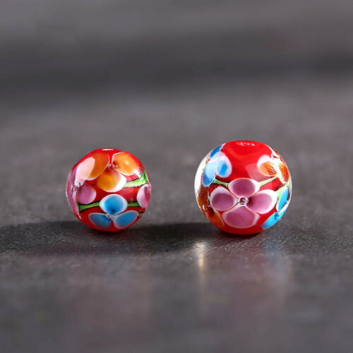 12mm Flower Round Loose Spacer Glass Beads for Necklace DIY Jewelry Making#Q