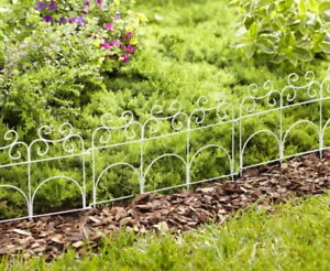 Image Is Loading Decorative Garden Fence White Metal Steel Small Low