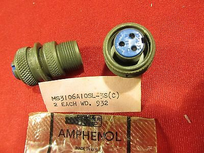 Lot of 10 Amphenol AMP Connector Plug used in Turn Bank slip 3 pin MS3106A-10S