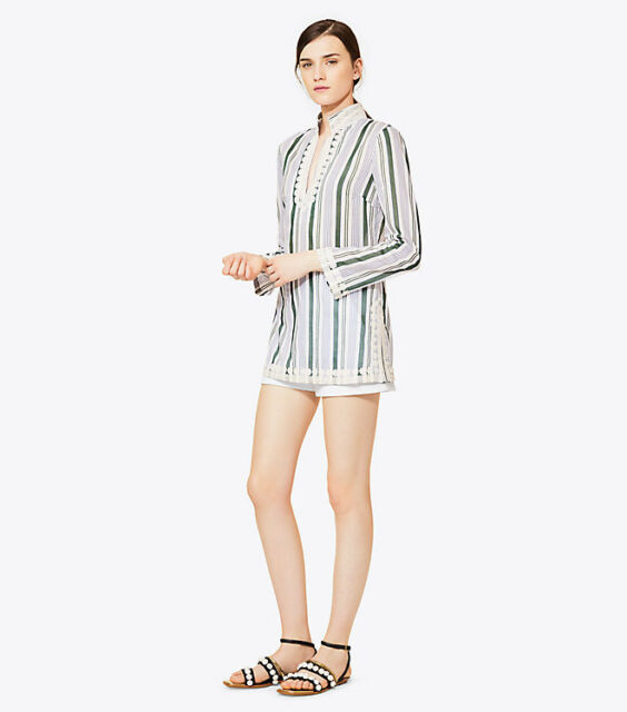29d26ac252e1 Tory Burch Tory Tunic Villa Striped Classic 4 XS S NWT Cover Up Resort 2017