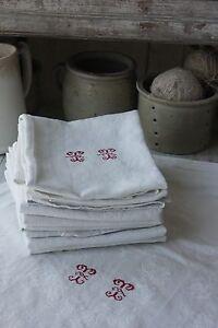 Damask-linen-napkin-SET-12-TT-monogrammed-linen-30X23-c1920-white-old