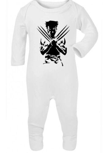 Weiß Strampler Outfit Geschenk Babyparty Schwarz Wolverine Marvel Strampler