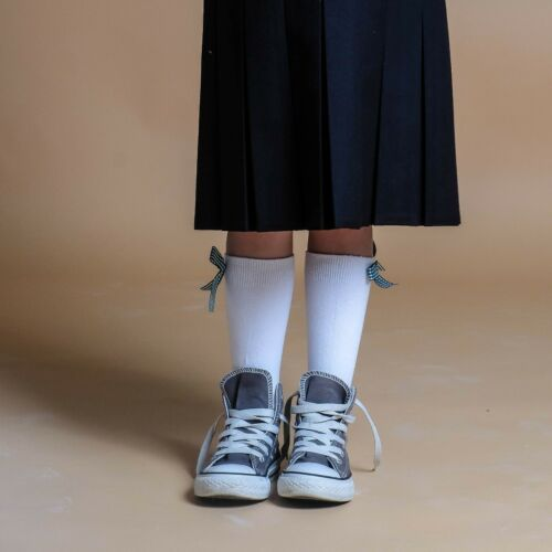Frilly Chic Girls Knee High School Socks With Coloured Checked Bow