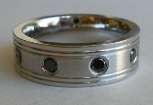 MENS-STAINLESS-STEEL-BLACK-CZ-COMFORT-FIT-WEDDING-BAND-RING-choose-size