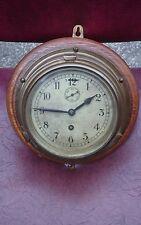 Antique 8 Day Brass + Oak Ships Bulkhead Clock GWO Serviced