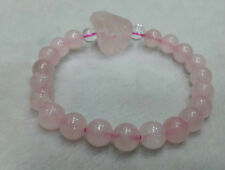 Rose Quartz Stone 8 MM Beads With Rose Natural Tumbled +Crystal 2Beads Bracelete