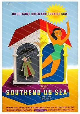 Southend Vintage Seaside travel advertising Poster reproduction.