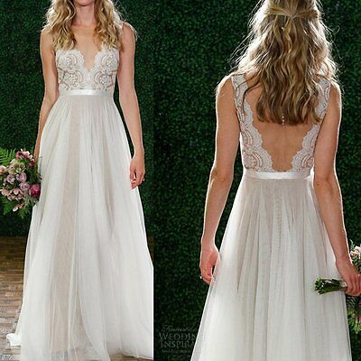 Lady Lace Chiffon Long Evening Formal Party Cocktail Bridesmaid Dress Gown Prom