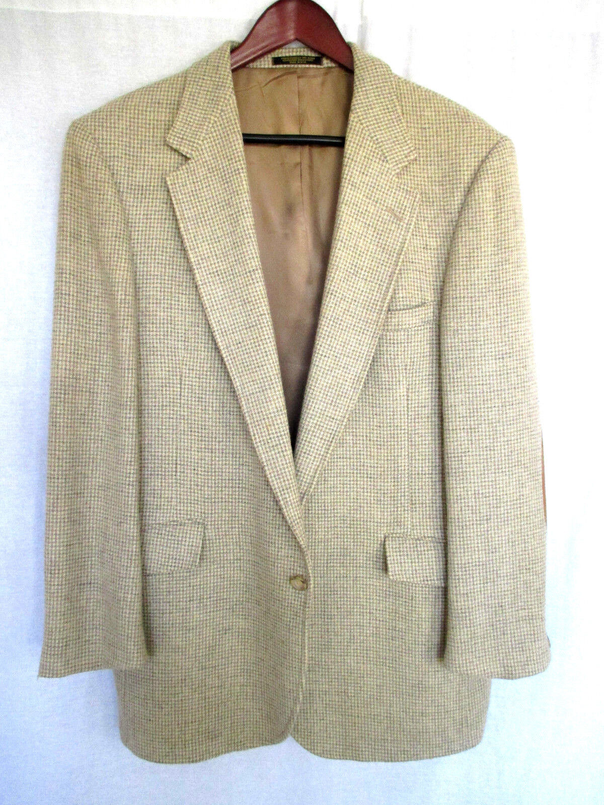 Evan Picone 44R  Herren Sport Coat Beige Houndstooth Vintage Chamois Elbow Patches
