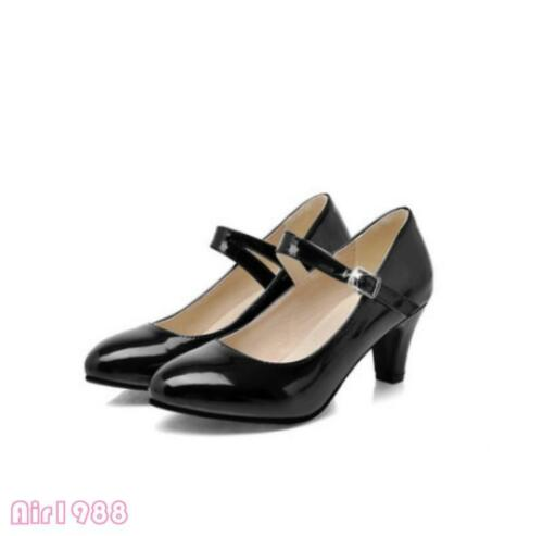 Mary Janes women mid heels shoes sweet pumps ankle strap Dance Shoes Prom New