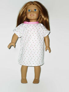 Hospital-Gown-fits-American-Girl-Dolls-18-034-Doll-Clothes-Pink-Rosebuds