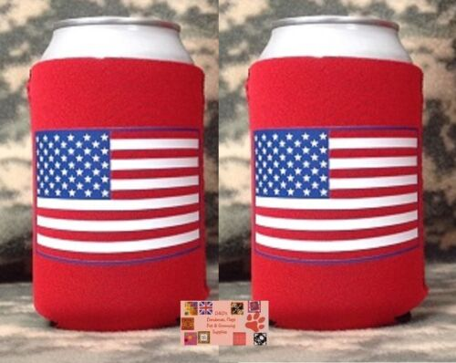 2-USA UNITED STATES AMERICA Can Bottle KOOZIE COOLER Coozie Wrap Thermal JACKET