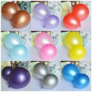 """100 Metallic Pearl Shinning Helium Air Quality Party Balloons 10/"""" Inch baloon"""