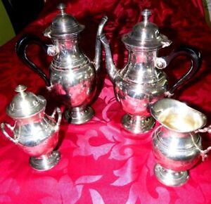 Hotelsilber-Tafelsilber-Versilbert-4-er-Set-Kaffe-Teekanne-Milchkanne-Zuckerdose