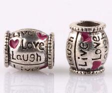 HOT 2PCS silver love LAMPWORK spacer beads Charm fit European Bracelet DIY B#996