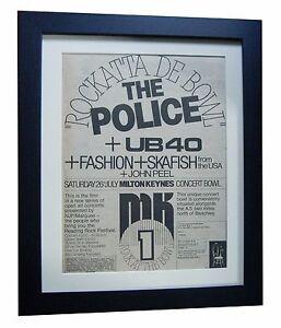 POLICE-MILTON-KEYNES-BOWL-POSTER-AD-RARE-ORIGINAL-1980-FRAMED-FAST-GLOBAL-SHIP