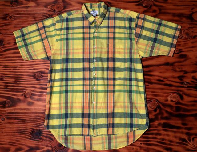 90s Vintage Gap Shirt Large Plaid Short Sleeve Cotton Size L
