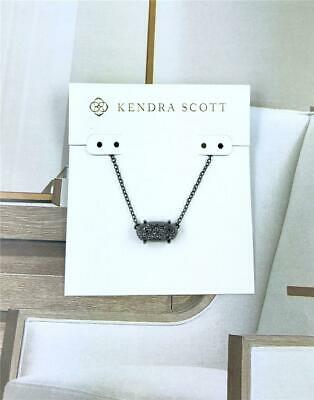 NWT Kendra Scott Elisa Black Drusy Necklace Gunmetal Tone