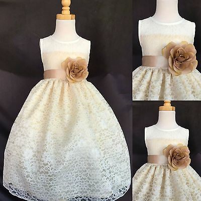 Ivory Lace Champagne Detail Flower Girl Dress Wedding Holiday Toddler Infant #3