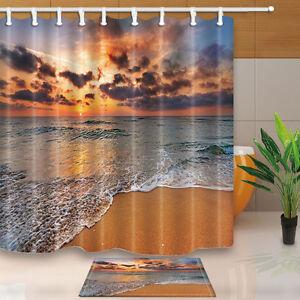 Bathroom-Waterproof-polyester-fabric-Shower-Curtain-set-Beach-view-180x180cm
