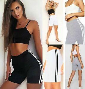 Women-039-s-Cotton-Double-Side-Stripe-Shorts-Ladies-Gym-Sports-Cycling-Pant