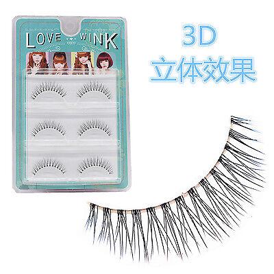 3 Pairs Soft Transparent Stem Natural Cross Black Handmade False Eyelashes