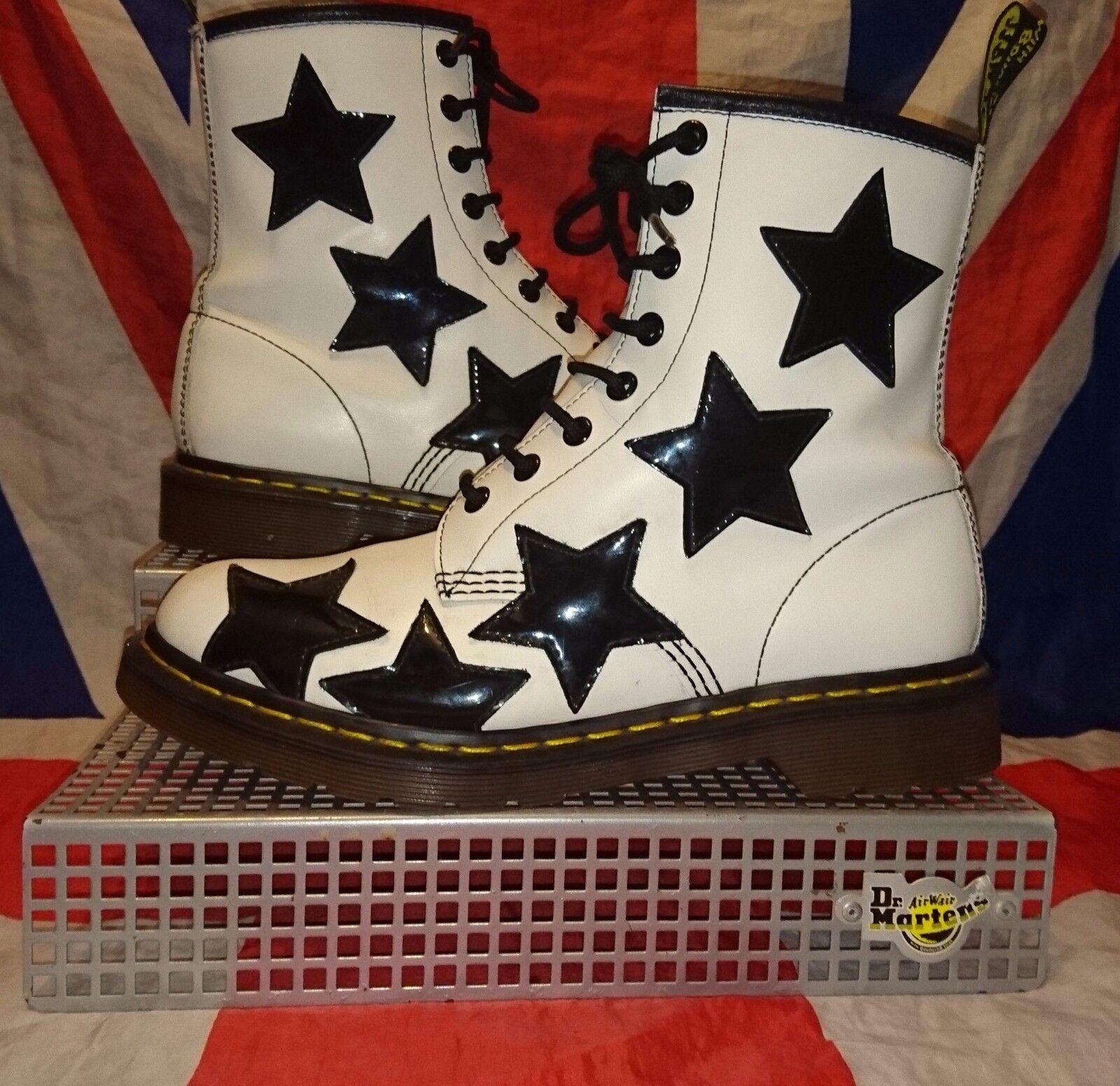 Rare Stella*Black White Star Dr Doc Martens*Kitsch Kawaii Quirky Goth Grunge*UK6