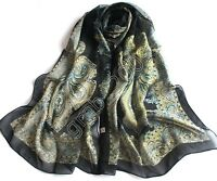 Vintage Women's Fashion Black Georgette Chiffon Long Wrap Shawl Beach Silk Scarf