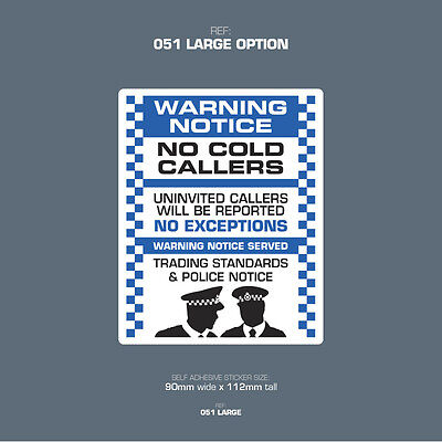 Front Door Letter Box Sign // Sticker SKU014 No Cold Callers No Canvassers