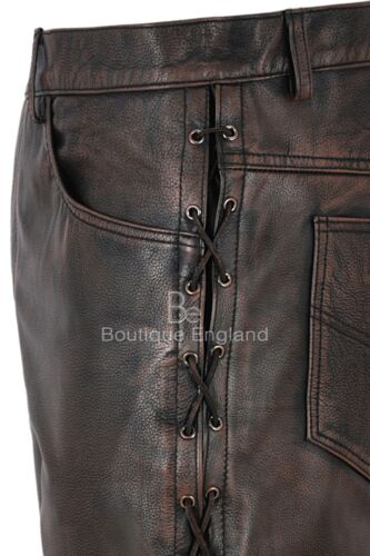 Men/'s Biker Leather Trouser Black Bronze Laced Motorcycle Style 100/% Hide 00126
