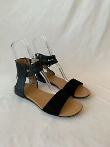 Franco-Sarto-Women-s-Greer-Black-Leather-Sandals-Gladiator-Flats-Size-11-M
