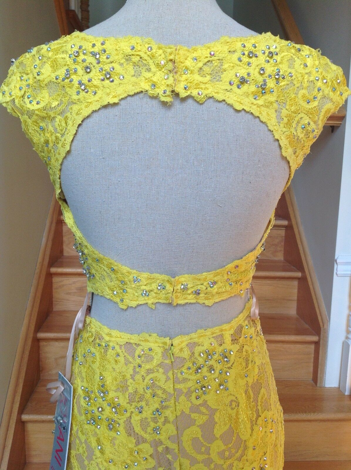 JOVANI 24241 Yellow 2PC Lace Lace Lace Prom Pageant Formal Dress Gown  0 f36af3