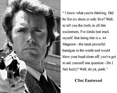 Clint Eastwood Dirty Harry\'s Famous Quote Glossy 5x7 Photo | eBay