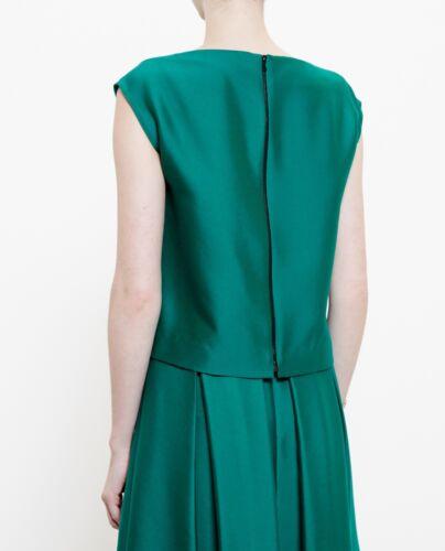 Women's Us Top Osman Uk Sleeveless Small 40 With Placket S It 10 6 Detail Green Hxzfwzd
