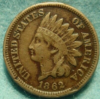 1862 FULL LIBERTY Indian Head Copper Nickel Great details Civil War-Era Relic.