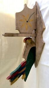 Antique-Vintage-Hand-Made-Folk-Art-Wood-Parrot-Bird-Wall-Plaque-Hanger