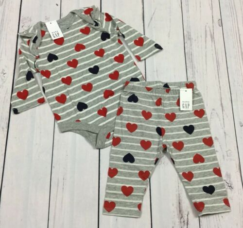 Nwt Baby Gap Girls 3-6 Month Heart Shirt /& Pants Outfit