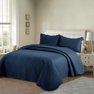 Colcha-Acolchado-moderno-3-Piezas-Conjunto-de-Edredon-Cobertor-De-Cama-Tamano-Individual-Doble-King