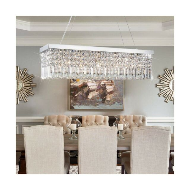 Crystop Clear K9 Crystal Chandelier, Rectangular Chandelier Dining Room