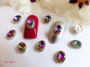 3d nail art silver black ab holographic rhinestone frame