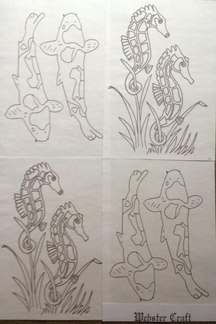 Websters Seahorses & Koi Carp iron on embroidery transfer 4 x A4 sheets